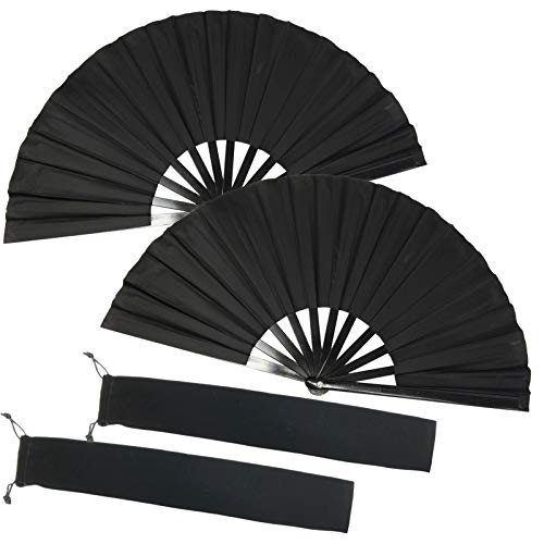 TIHOOD 2PCS Large Folding Silk Hand Fan Hand Folding Fans Chinese Tai Chi Folding Fan for Men and Women Performance, Dance, Decorations, Festival, Gift (Black x2)