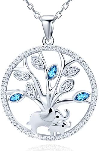 Distance Mother and Child Lovely Elephant Tree of Life Round Pendant Necklace 925 Sterling Silver product image