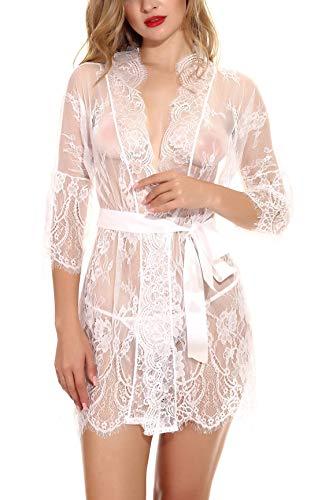 FEOYA Damen Erotik Unterwäsche Babydoll Nachtkleid Dessous Set Reizwäsche Kimono Spitze Offen Negligee Lingerie Transparente Nachtwäsche Gown Weiß S