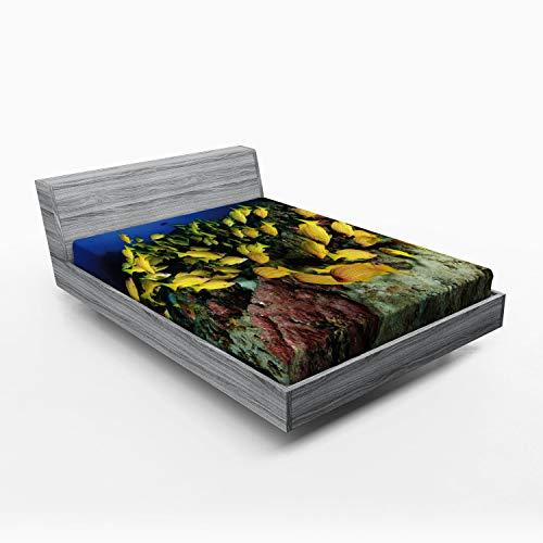 ABAKUHAUS Vida Marina Sábana Elastizada, Tropical de los Pescados del filón Coralino, Suave Tela Decorativa Estampada Elástico en el Borde, 160 x 200 cm, Multicolor