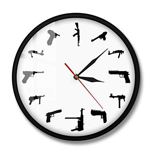 Armas Militares Reloj de Pared del ejército Diferentes máquinas Rifles Armas Diseño Minimalista Reloj de Pared Moderno Militar Vintage Arma Furnit Regalo-Marco de Metal