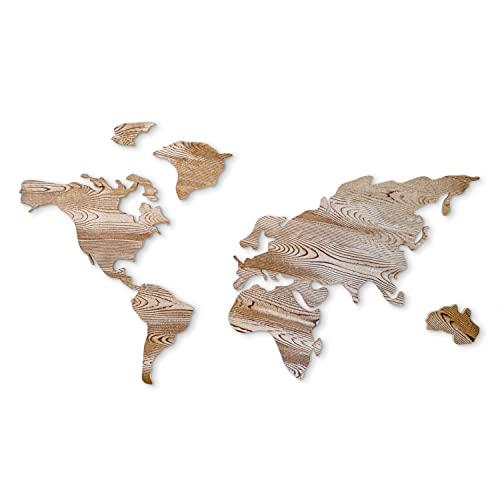 Flamezyk - Mapa de Madera 3D mapamundi decoración Fotos Viajes para Pared Elegante salón Dormitorio Oficina
