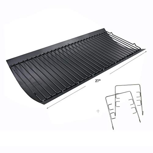"Hisencn 27 inch Ash Pan Repair Parts for Chargriller 1224, 1324, 2121, 2222, 2727, 2828, 2929 Charcoal Grills, Charbroil 17302056, 27"" Drip Pan Grates Replacement Part with 2pcs Fire Grate Hanger"