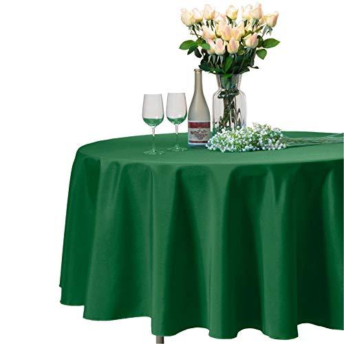 VEEYOO Mantel Redondo 100% Poliéster Paño de Ducha Circular Nupcial - Cubierta de Mesa de Cena Suave y sólida para la Boda Partido Restaurante (Verde, Redono 305 cm)