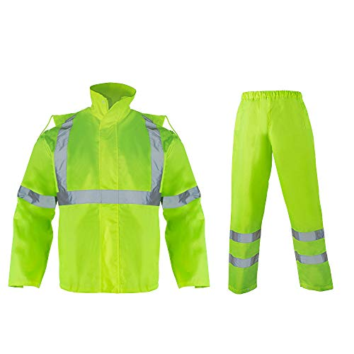 VENDACE Hi Vis Waterproof Rainsuit Jacket and Pants for Men High Visibility Class 3 Rain Gear Raincoat(S/M)
