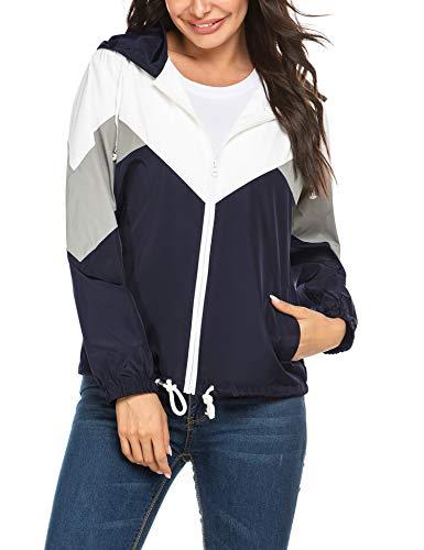 Parabler Regenjacke Damen wasserdichte Atmungsaktiv Leichte Kurze Regenmantel Windjacke Windbreaker Jacke Übergangsjacke mit Kapuze Blau L