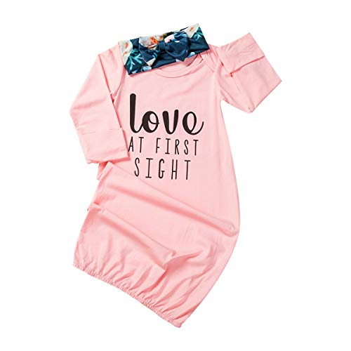 Newborn Infant Baby Girls Sleeping Gown Swaddle Pajamas Coming Home Outfits Pink (Pink , 0-3m )