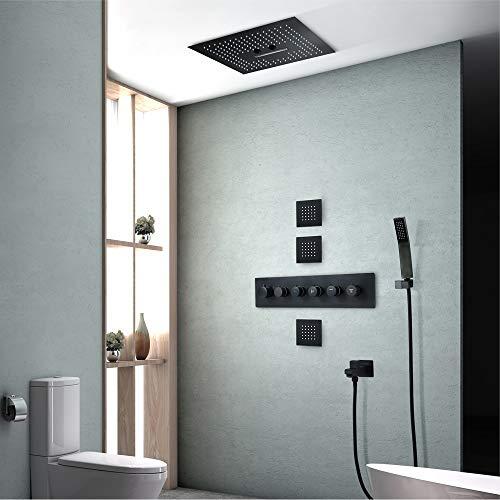BICCQ Dusche Unterputz Duscharmatur Duschset In Die Wand Eingelassen Schwarz LED-Licht Duschset Thermostat Duschventilkörper