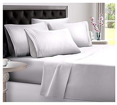 DREAMCARE Deep Pocket Sheets Microfiber Sheets Bed Sheets Set 4 Piece Bedding Sets King Size, White