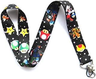 Super Mario Mushroom Star Black Keychain Holder Lanyard