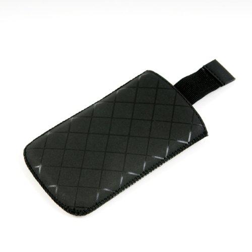 Valenta Etui offen - schwarz - mit Ausziehlasche & trendigem Karodesign für Samsung SGH-G800