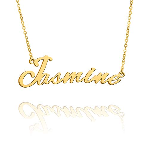 BUREI Name Necklace Big Initial Gold Plated Best Friend Jewelry Women Gift for Her Jasmine