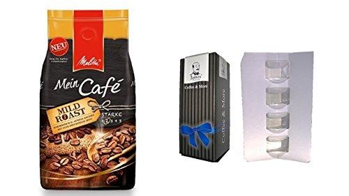 Melitta Mein Café Mild Roast, 1er Pack (1 x 1 kg)++ 4 Espresso Glastassen mit Henkel im Geschenkkarton