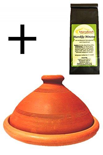 2er Set, ORIGINAL Tajine Tagine + Marokko Minztee (Ø 30cm)
