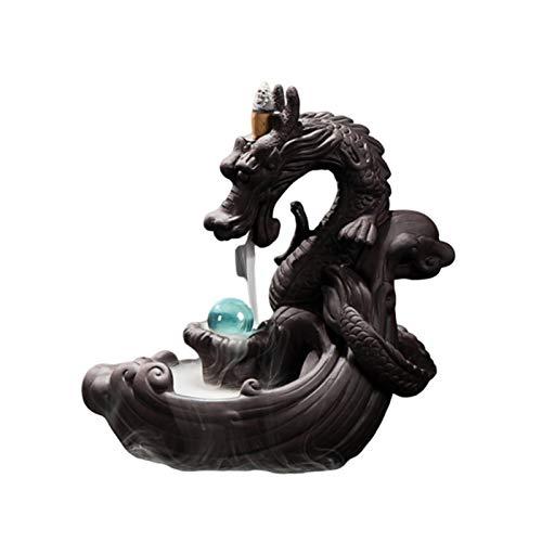 rcraftn Backflow Incense Burner, Home Dragon Backflow Incense Burner, di incenso a riflusso Drago Bastoncini di riflusso in Ceramica Porta incenso per la Decorazione Domestica