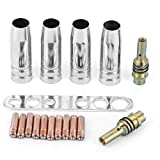 Kit ugelli torcia per saldatura, 17 pezzi/set Kit ugelli torcia per saldatura 0,8 mm Punte di contatto Portaugello MIG MAG adatto per Binzel 15AK