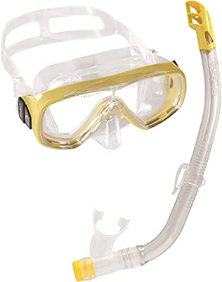 Cressi Elite Mask Snorkel Set Kids, Made in Italy, DM1010131, Clear/Yellow