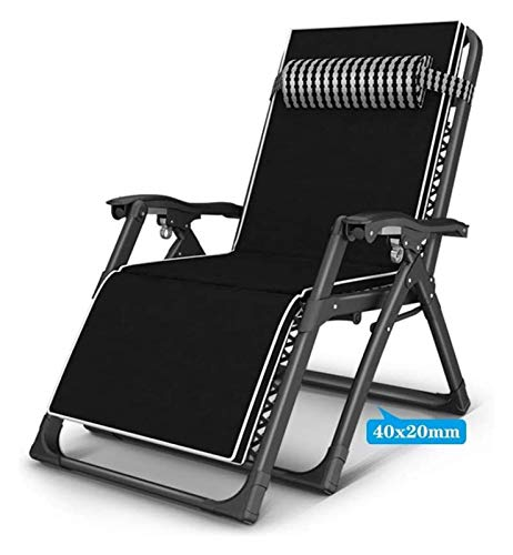 MTFZD Heavy Duty Sun Lounger Chair Garden Furniture Camping Garden Deck Chairs Folding Zero Gravity Recliner Reclining Waterproof Chaise (Color : Black-1)