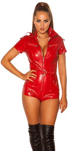 Koucla Sexy Gogo Overall im Leder-Look mit Zipper und Gürtel, Rot, S