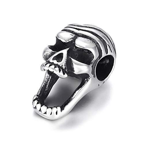 EKimmer Cuentas de Calavera Espaciador Agujero Grande 6Mm Colgante de Encanto Deslizante DIY Hombres Pulsera Hacer Suministros hallazgos de joyería Skull Bead