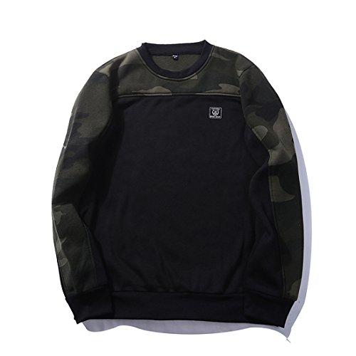 GWELL Herren Camouflage Schulter Pullover Sweat Shirt Klassisches Outdoor Sports Sweatshirt mit Rundhalsausschnitt, Schwarz, XXL