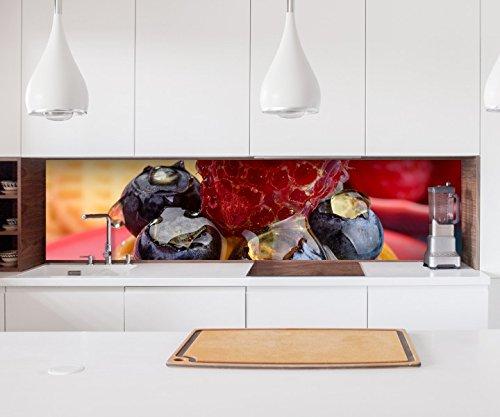 Aufkleber Küchenrückwand Nachtisch Dessert Himbeere Kekse Folie selbstklebend Dekofolie Fliesen Möbelfolie Spritzschutz 22A807, Höhe x Länge:60cm x 400cm