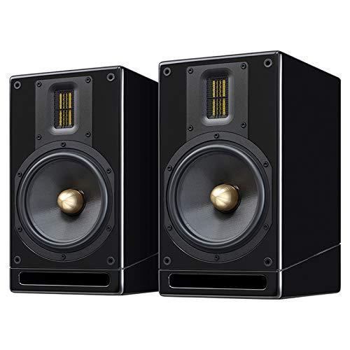 Accusound M6 Home estéreo de alto rendimiento Hi-Fi de 2 vías pasivas para el hogar altavoces | par, acabado de poliuretano brillante | requiere amplificador (negro)