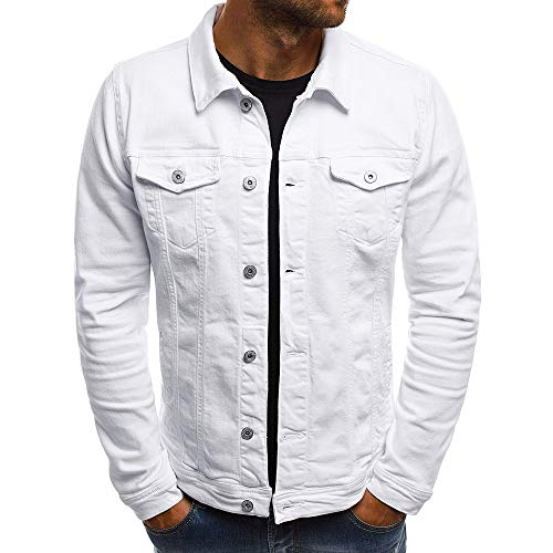 KPILP Herrenmode Herbst Winter Taste Einfarbig Vintage Jeansjacke Tops Bluse Mantel Outwear Langarm-Shirt(Weiß, XL)
