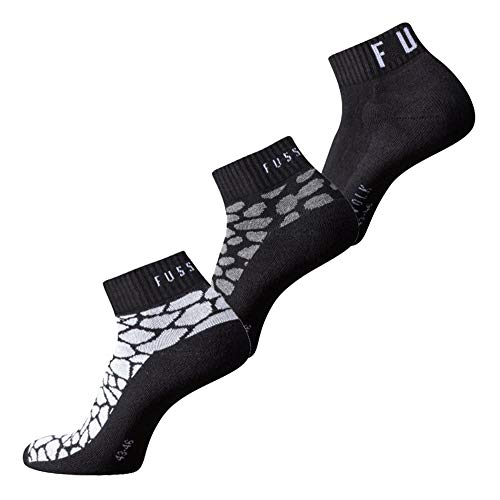 Fussvolk Quarter Socken 3 Paar Sportstrümpfe Ankle Socks 3er schwarz Tiermotive, Size:39-42