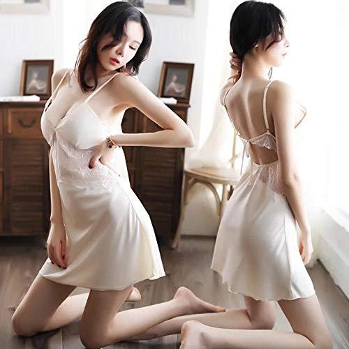 Camisones Eróticos para Mujer Lencería Sexy Pijamas Sexy Paquete De Perspectiva Falda De Cadera Pijamas De Tres Puntos con Almohadilla para El Pecho Traje De Pasión-Champag