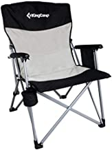 KingCamp Camping Folding Chair Lawn Chair Lightweight Padded Arm Collapsible Chair with Cup Holder, Support up to 300lbs