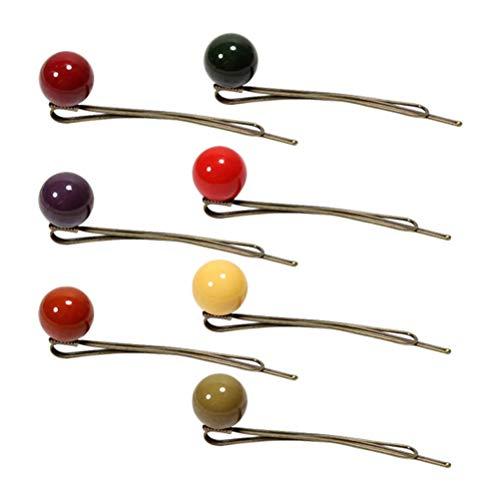Lurrose 7pcs couleur pure acrylique perles en épingle à cheveux boule côté clip accessoire de bande de cheveux