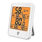 Voupuoda Higrómetro digital Termómetro Medidor de temperatura y humedad interior Medidor de monitor con pantalla LCD grande para el invernadero de la oficina del dormitorio del hogar