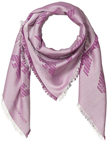 Emporio Armani Damen Cotton-Blend Square Scarf with Logo Detail Modischer Schal, Futurist Violet, Einheitsgröße
