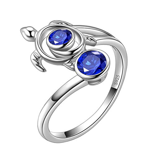 Aurora Tears Blue Turtle Rings Celtic Spiral 925 Sterling Silver September-Sapphire Sea Animal Viking Swirls Turtle Adjustable Ring Open Women Birthstone Ancient Symbol Crystal Cute Jewelry DR0084S