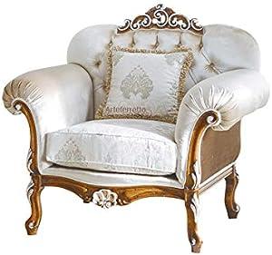Eleganter Sessel gepolstert im klassischen italienischen Stil, Polstersessel Struktur aus Holz, bequeme Polsterung, Sessel Made in Italy NEU Schlafzimmer Wohnzimmer