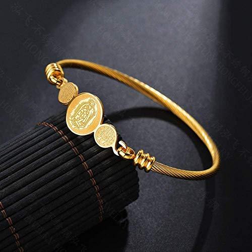 Nobrand Religiöses Gold Jungfrau Maria Twisted Cable Wire Armband Edelstahl Katholische Armbänder Armreifen Frauen Geschenk Für Mutter