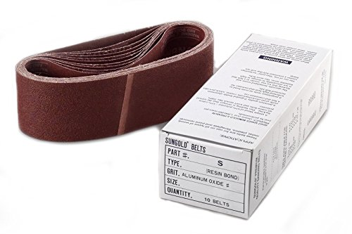 "Sungold Abrasives 4X24S80 64866 4"" By 24"" 80 Grit Portable Belts Premium Industrial X -Weight Aluminum Oxide, 10 Belts/Box"