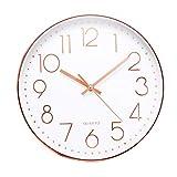 Jeteven 30cm Rund Wanduhr Kinderuhr mit geräuscharmem Uhrwerk mit schleichender Sekunde groß Quarz-Wanduhr ohne Tickgeräusche modern für Wohn- /Schlaf- / Kinderzimmer Büro Cafe Restaurant (Rosegold)