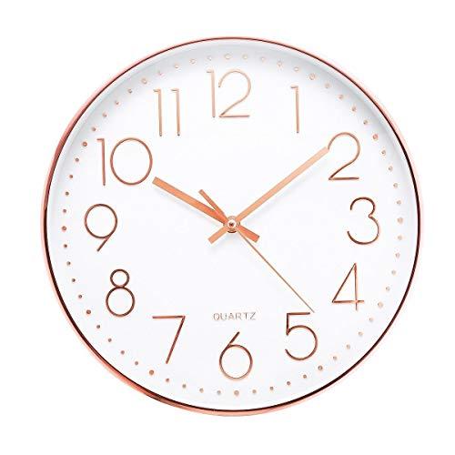 Jeteven® 30cm Rund Wanduhr Kinderuhr mit geräuscharmem Uhrwerk mit schleichender Sekunde groß Quarz-Wanduhr ohne Tickgeräusche modern für Wohn- /Schlaf- / Kinderzimmer Büro Cafe Restaurant (Rosegold)
