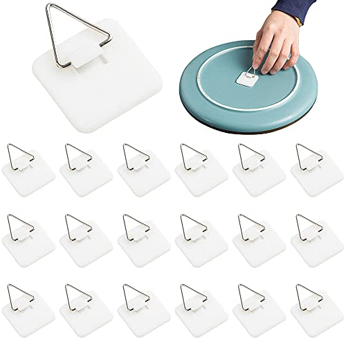 40 Pieces Invisible Adhesive Plate Hanger Vertical Plate Holders for Wall Hooks for Decorative Plates and Art Supplies 1.25 Inch