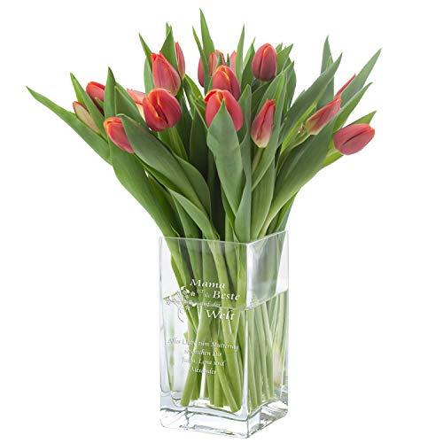 Vase von Leonardo mit Gravur (Mama ist die Beste): Vase mit liebevollem Spruch personalisiert - Glasvase mit Namen für Schnittblumen - Geschenkidee zum Muttertag von Tochter Sohn Kindern, Geburtstag