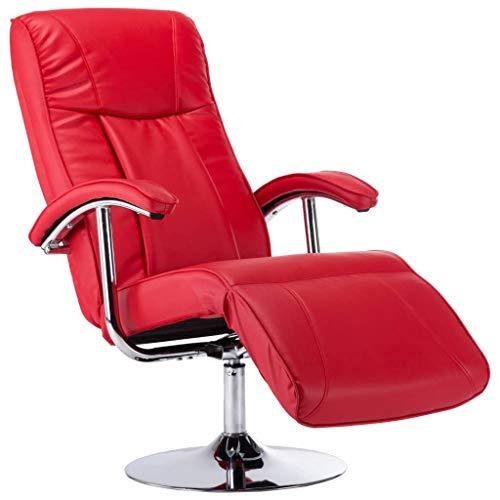 vidaXL Fauteuil TV Chaise de Relaxation Fauteuil Inclinable Siège de Relaxation Salon Salle de Séjour Maison Intérieur Bureau Rouge Similicuir