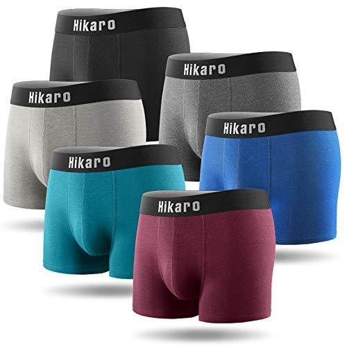 HIKARO Amazon-Marke Boxershorts Herren 6er Pack Männer Unterwäsche Unterhosen Men Retroshorts Boxer Baumwolle S, M, L, XL, 2XL,3XL