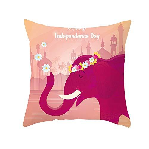 Amody Fundas para Cojines Modernos, Fundas Cojines 50x50cm Elefante Vistiendo un Guirnalda Independence Day Funda de Cojín Decoración para Sofá,Hogar Style 22