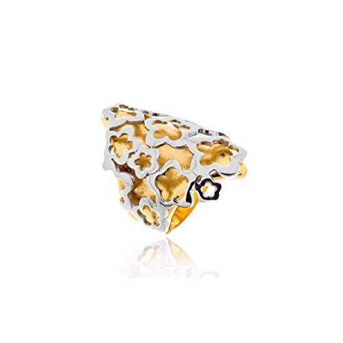 Joyasprivee X1138S - Anillo de plata 925 amarillo con aplique blanco, talla 14