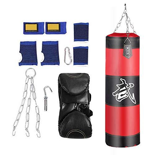 VGEBY1 Boxen Sandsack, Boxsack Erwachsene Ungefüllt Boxhaken Kick Kampf Tasche Fitness Trainingsgeräte(100cm-Rot)