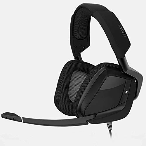 DHINGM PS4 Casque Audio, Dolby 7.1 Casque stéréo, Connexion USB, Jeux vidéo avec contrôle du Volume Flexible Microphone (Color : Black)