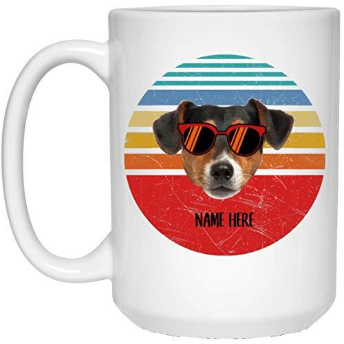 N\A Divertido Jack Russell Terrier Negro Tricolor Gafas Puesta de Sol Retro Personalizado Nombre Taza de café con Leche