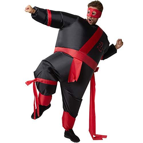 dressforfun 302353 - Aufblasbares Unisex Kostüm Ninja, Anzug mit angenähtem Gürtel und Band, inkl. Maske